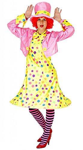 kostüm für Damen | Größe S, M, L, XL, XXL und XXXL | Set bestehend aus Kleid, Jacke, Hut, Strumpfhose, Fliege |Clown Kostüm Frauen Clownfrau Lady Karneval Damenkostüm, Größe:XXXL (Frauen Clown Kostüme)