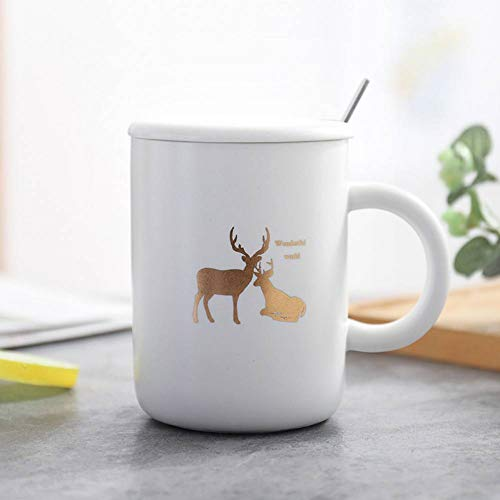 XIAMD Tasse Simple Design White Ceramic Coffee Mugs Gold Deer Pattern Mug Set with Cover and Spoon for Office and House Business Gift,01 -