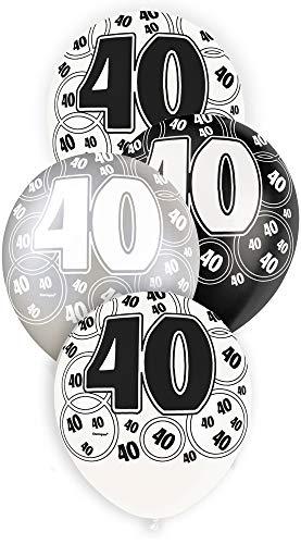 Unique Party Paquete de 6 Globos de látex de 40 cumpleaños, Color Negro, Edad (80895)