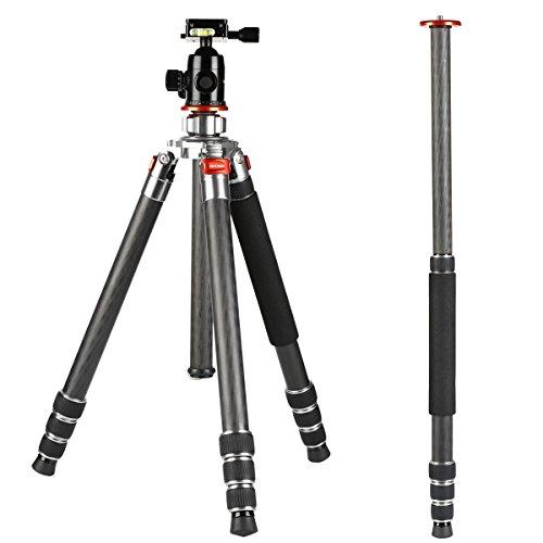 Treppiede Carbonico Professionale, K&F Concept Capace di Diventare Monopiede per DSLR/Reflex/Fotocamera Capacità di Carico 8kg con 4 Sezioni Nero per Sony Nikon Canon