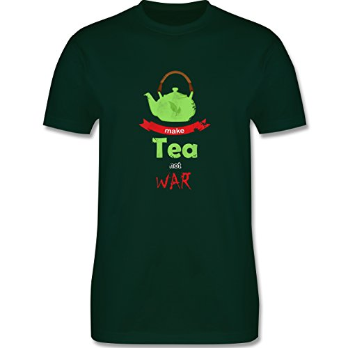 Statement Shirts - Make tea - not war - Herren Premium T-Shirt Dunkelgrün