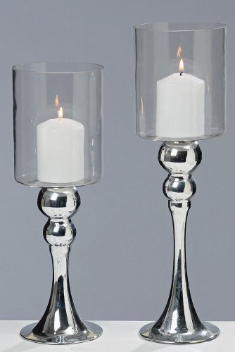 Windlicht, Kerzenständer auf Fuß mit Glasaufsatz Glammy 2er-Set, in silber, ca. 35 cm und 40 cm