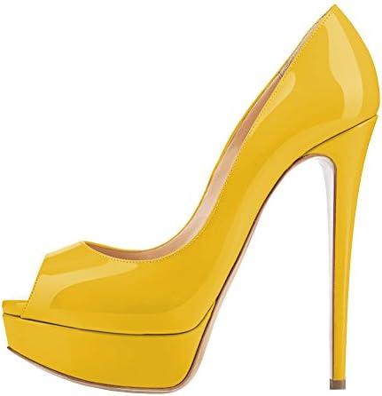 Lutalica Zapatos de Punta Abierta de Charol Mujer