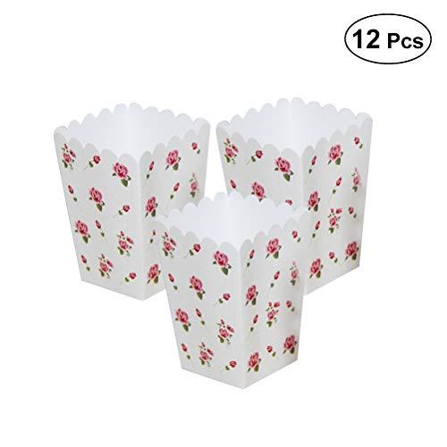 BESTOYARD 12 stücke Vintage Rose Blumen Popcorn Boxen Süßigkeiten Snack Druck Treat Box Hochzeit Dekoration Mini Party Papier Favor
