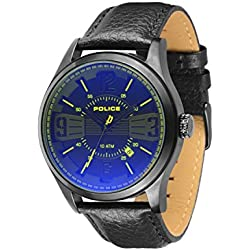 Police Men's Quartz Watch with Black Dial Analogue Display and Black Leather Strap 13453JSB/02