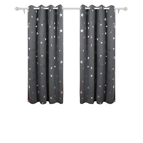 Deconovo tende oscuranti termiche isolanti con stelle per camera da letto grigio scuro 117x138cm due pannelli