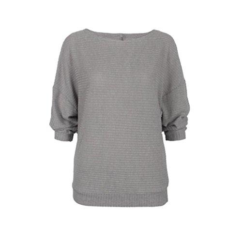 Transer ® Pull Femme,Femmes filles Batwing manchon tricoté lâche pull chasuble Gris