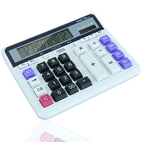 Baoffs-offsup Einfacher Desktop-Rechner Solar-Akku Dual-Power-Office-Rechner, 12-stellige Solar-Batterie Basic Calculator, mit großem LCD-Display und großen Tasten für büro Schule Heimgebrauch (Basic Calculator)
