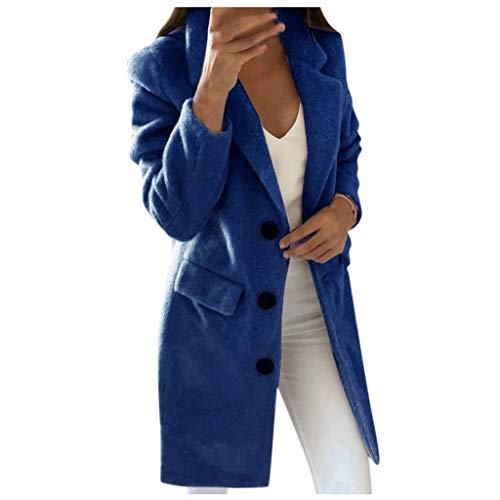 iHENGH Damen Frau Langen Wollmantel Elegante Mischung Mäntel schlanke weibliche Langen Mantel Oberbekleidung Jacke(Blau, XL)