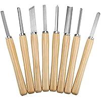 Juego de torneado de cincel de torno de madera, 8 piezas Juego de cincel de torneado de madera Herramientas de torneado Carpintería Gouge Skew Parting