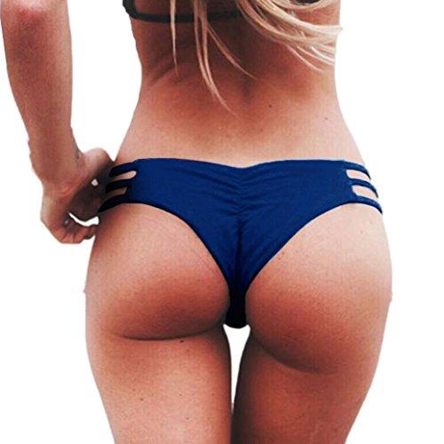 Bademode Damen, GJKK Damen Tanga Bikinihose String Weave Bandage Rüschen Brazilian Bikini Slip Schnüren Höschen Badeshorts Bikinihose Schwimmhose (Blau, L)