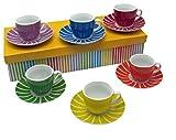 12-tlg. Espressotassen-Set DELIZIA | aus Porzellan | Farbenfrohes Espresso-Set für 6 Personen | mit Aufbewahrungs - / Geschenkebox