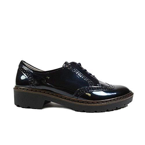 Jenny Portland, Zapatos de Cordones Brogue para Mujer, Negro Midnight 16, 36 EU