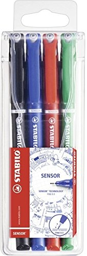 Fineliner mit gefederter Spitze - STABILO SENSOR - 4er Pack - schwarz, blau, rot, grün