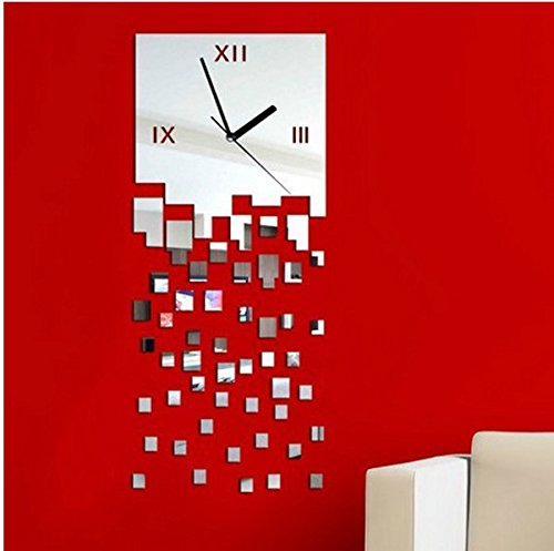 ZQA&N Wall clocks - mirror three-dimensional wall mosaic wall clock