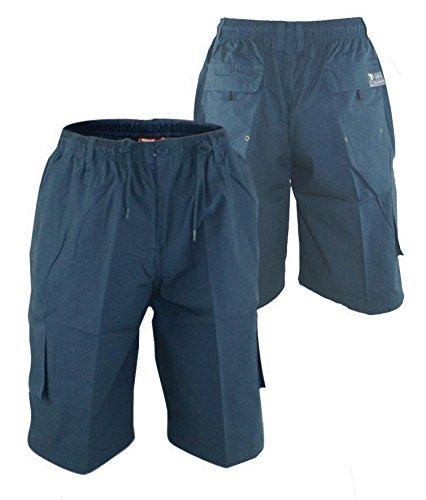 Cargo Plus Größe Shorts (Duke Herren 's großes Cargo Shorts mit geformtes Bein Taschen, Blau - Blau, 6XL)