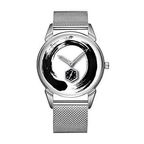 Mode wasserdicht Uhr minimalistischen Persönlichkeit Muster Uhr -333. Enso Circle Custom perfekt quadratisch schwarzes Leder