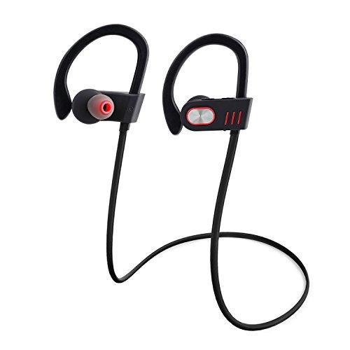 Qedertek Bluetooth Kopfhörer 4.1 In- Ohr Sport Headset Ohrhörer Stereo mit Mikrofon, stereofon, Top-Qualität für iPhone, Android, MP3 & Weitere Ideal für Sport, Joggen, Fitness, Fahren, Wanderungen, Radfahren usw.(Schwarz)