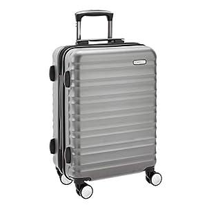 AmazonBasics – Maleta rígida de alta calidad, con ruedas y cerradura TSA incorporada, 55 cm, gris, apto para la mayoría de las aerolíneas de bajo coste