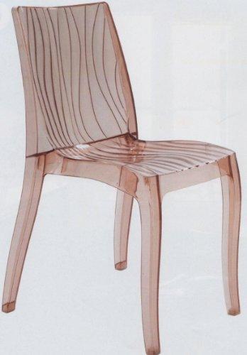 Grandsoleil dès la Dune Chaise empilable en Polycarbonate, Transparent, Marron Clair, 54 x 50 x 84 cm
