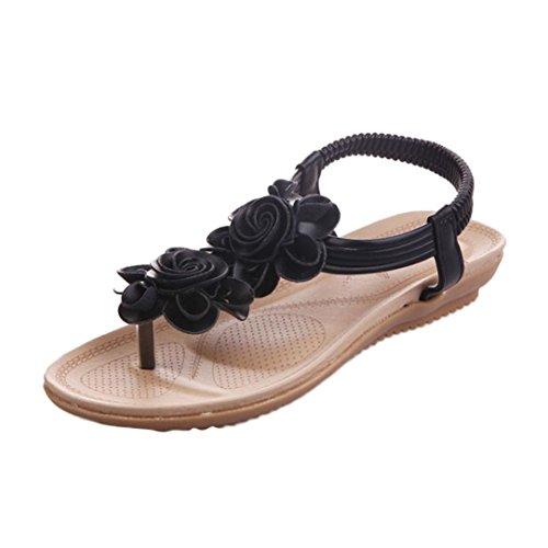 Sandalias mujer verano 2018 ❤️ Amlaiworld Sandalias romanas de mujer de plataforma verano de flores zapatos cuñas señoras de playa flip flop zapatillas niña de deporte (Negro, 40)