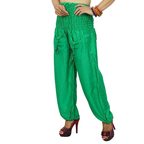 Frauen tragen Haremshosen elastische Taillen Hosen Sommer beiläufige Hosen Indien Wear Grün
