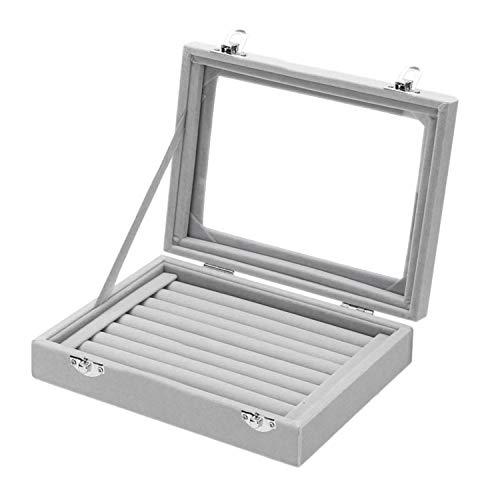 Samt Ring Aufbewahrungsbox (9 Rolls) - Schmuckhalter mit klarem Deckel (L20 x D15 x H4.5cm) - Halten Sie bis zu 72 Ringe - Display Box Tablett - Ringe, Ohrringe, Anhänger & Manschettenknöpfe