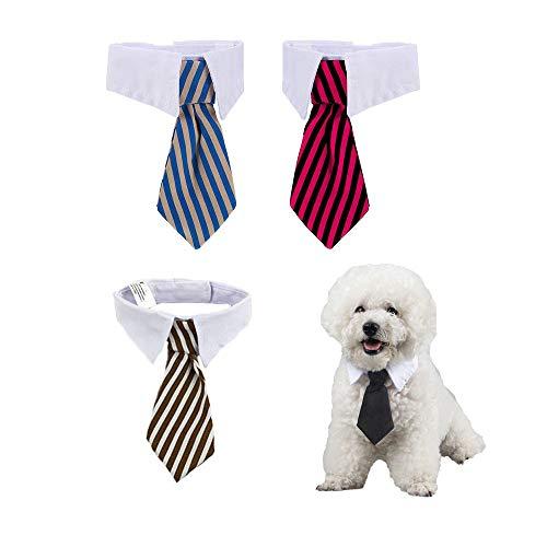 Amasawa 4 Stücke Pet gestreifte Krawatte,Justierbare Haustier Hunde Katzen Fliege Haustier Kostüm Krawatte Kragen für Kleine Hunde Welpen Pflegen Zusätze (S-Code)