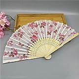 Oyamihin 1 Stück 21 cm Folding Fan Zarte Rose Pfirsich Blume Pflaumenblüte Japanischen Pflaumenblüte Design Seide Kostüm Party - Weiß