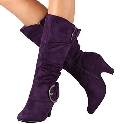 Damen Stiefel High Heels Klassische Stiefel mit Blockabsatz Profilsohle Elegant Winterstiefel mit Schnalle Lila 39 EU
