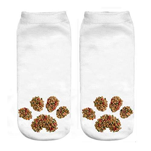NANAYOUPIN Mode 5 Paar Neue Candy Paw Print 3D Print Socken Kaktus Rosa BAU Leckeres Essen Muster Mann Frau Socken Baumwolle Komfortable Lässige SockenKatze Fußabdruck (Cougar Print Paw)