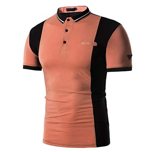 Saingance Herren Poloshirt Vintage Kurze Ärmel Elastisch Slim Shirt– Für Anzug,Business,Freizeit