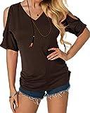 YOINS Femmes Sexy T-Shirts Demi Manches Tops Chemisier Épaules Dénudées Tee-Shirt Carmen Sweatshirt Manches Courtes, Court-café, L/EU 44
