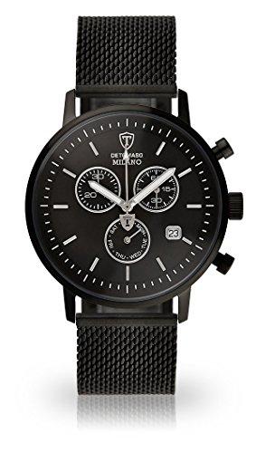 DETOMASO Milano Herren-Armbanduhr mit schwarzem Edelstahlgehäuse und schwarzem Zifferblatt. Elegante Quarz Herren-Uhr mit schwarzem Milanaise-Armband