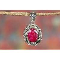 Ciondolo in Vero Rubino | Designer Jewellery | Collana con ciondoli | Gioielli in Pietre preziose di Cristallo | Pietra sfaccettata | Gioielli in Stile Vittoriano |