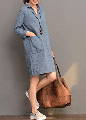 MatchLife Femme Revers Robe Manches Longues Plaid Chemise M Bleu Foncé