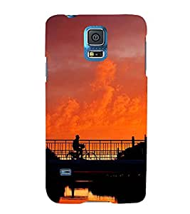 FUSON Cycling Mountain On Twilight 3D Hard Polycarbonate Designer Back Case Cover for Samsung Galaxy S5 Neo :: Samsung Galaxy S5 Neo G903F :: Samsung Galaxy S5 Neo G903W