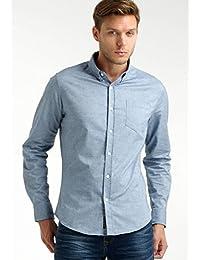 Crosshatch Mens Nouveau Amande Coton Chemise Oxford Bleu Ciel