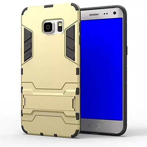 Heartly Graphic Designed Stand Hard Dual Rugged Armor Hybrid Bumper Back Case Cover For Samsung Galaxy S6 Edge SM-G925 - Mobile Gold