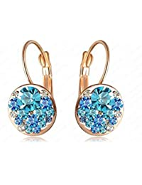 Glitz Women Trendy Fashion Crystal Push-back Round Stud Earrings for Party Wear Gifts