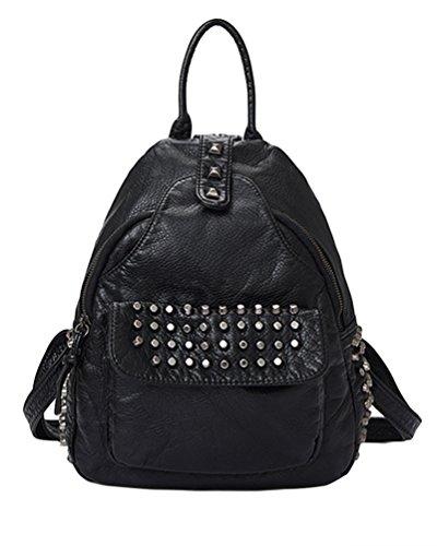 a5ed2c146bb8c CHENGYANG PU Leder Rucksack Damen Reise Tasche Backpack Schulrucksack mit  Mode Nieten für Mädchen Schwarz