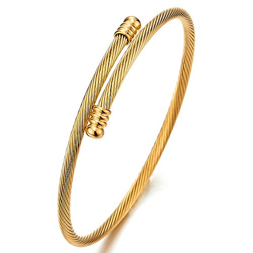 COOLSTEELANDBEYOND Dünne Damen-Armband Herren-Armband Verdrehten Stahlkabel Armreif aus Edelstahl Goldfarben