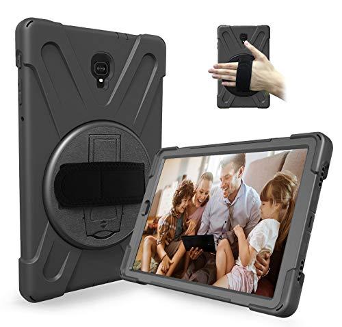 Gadget Giant Handschlaufenkoffer für robuste, robuste Galaxy Tab A 10.5 Inch (2018) SM T590 / T595-Stoßfest-Hybrid-Silikonhülle mit 360 drehbarem Fußstand und Schulter-Hals-Trageband Lanyard Black