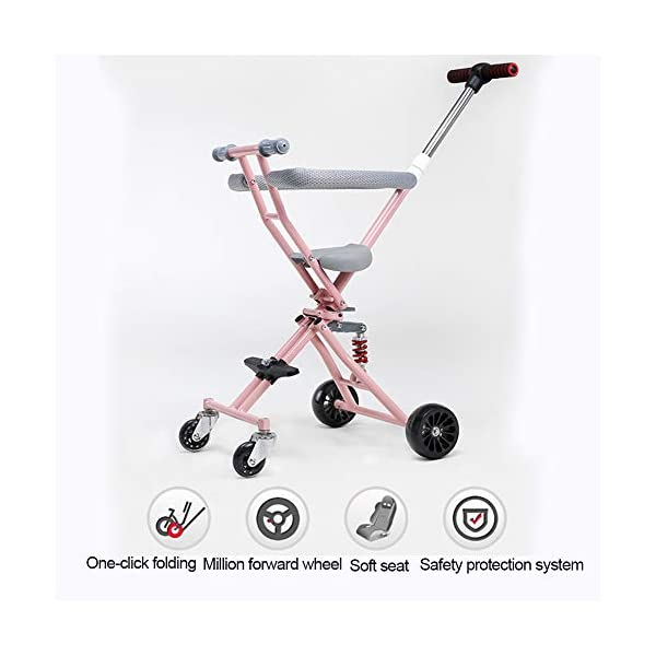 NACHEN Baby Airplane Stroller Lightweight Baby Stroller For Opening & Folding Infant Carriage NACHEN The new children's tricycle baby stroller can be folded easily One-click folding, convenient storage, can be on the plane. Double rear wheel brake system, let the baby safe, SUV-level shock absorption system, safe and enjoy leisure time. 3