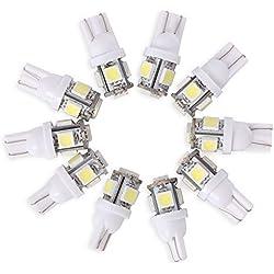 Neuftech® 10 X Bombilla T10 5 LED 5050 SMD 12V Luz Coche trasera Lámpara ,Blanco