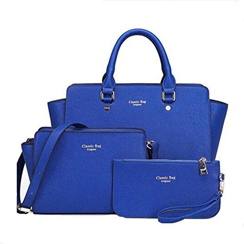 Newbestyle Femme Sacs En Cuir 3 Pièces Sacs à main+ Epaule de Sac + Porte-Monnaie Bleu