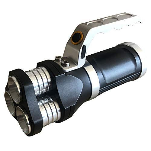 LED-Suchscheinwerfer, wiederaufladbar, 3 LED-Taschenlampe, 3000 Lumen, für Camping, Wandern, Radfahren und Notfall, schwarz