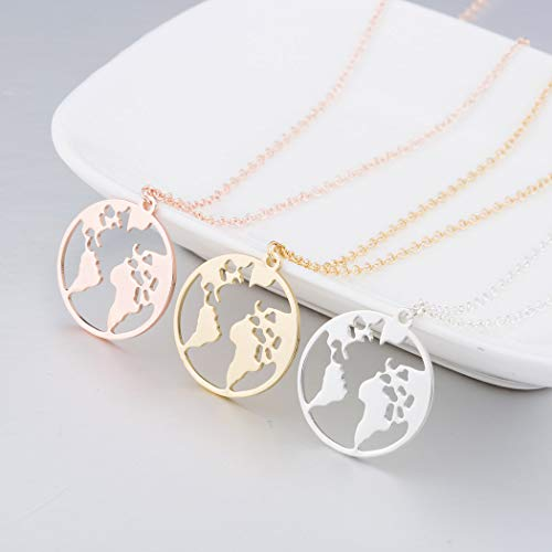 Simsly Fashion - Collar con colgante de mapa global, oro o plata o oro rosa, cadena de aleación, collares simples para mujeres, joyería de regalo, accesorios
