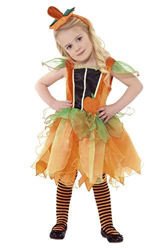 Smiffys, Kinder Mädchen Kürbis-Fee Kostüm, Kleid und Haarreif, Größe: T1 (Kleinkind Small), 35673