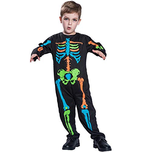 Powlance Colorful Skull Polyester Kostüm Kid Scary Halloween Kleidung Cosplay Outfit